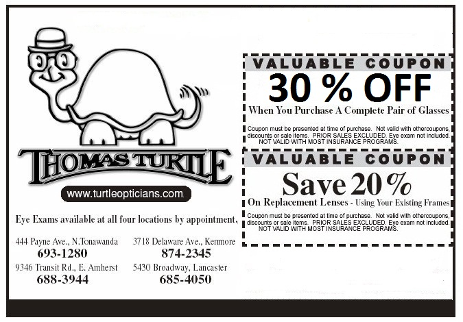 print this coupon and bring it into any thomas turtle optician location
